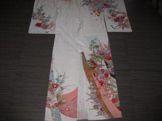 Vintage Asian Oriental Colorful Floral Robe Kimono photo