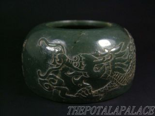 Old Chinese Spinach Nephrite Jade Brush Washer 16/17thc.  Powerful Dragon Carved photo