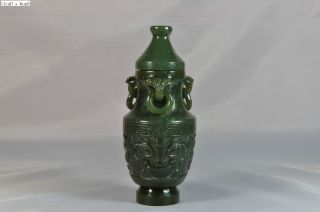 Chinese Spinach Green Jade Vase Scholar Art - 1st Of Total 2 photo