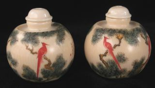 19th Century Chinese Snuff Bottle Matching Pair,  With Birds,  And Poems On Side photo