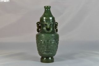 Chinese Spinach Green Jade Vase Scholar Art - 2nd Of Total 2 photo