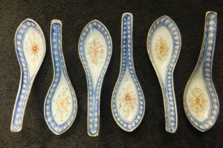 Group Of 6 Antique Chinese Blue White Porcelain Rice Grain Soup Spoons Estate photo
