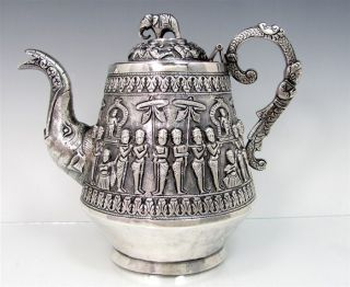 Antique Indian Swami Sterling Teapot Elephant Hindu Gods Silver 19th Century photo