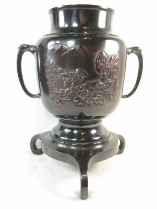 Japanese Antique Bronze Ikebana Usubata Vase Mountain Tea House Relief photo