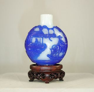 Antique Chinese 18th / 19th C Blue Overlay Peking Glass Snuff Bottle photo