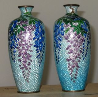 Pair Japanese Ginbari Cloisonne Vases With Wisteria photo