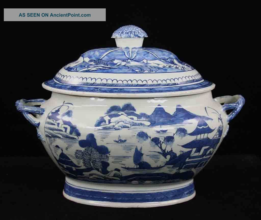 Antique Blue & White Canton China,  Export Porcelain - - Soup Tureen,  Twisted Hdles. Boxes photo