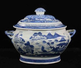 Antique Blue & White Canton China,  Export Porcelain - - Soup Tureen,  Twisted Hdles. photo