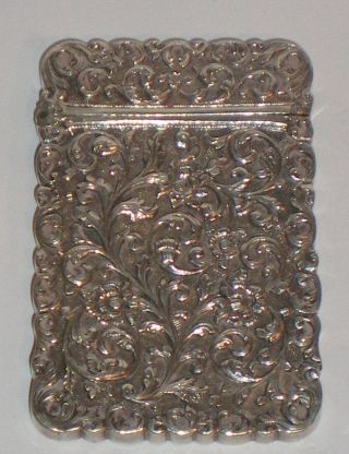Anglo Indian Kutch Silver Visiting Card Case Antique 19th Century Great Quality photo
