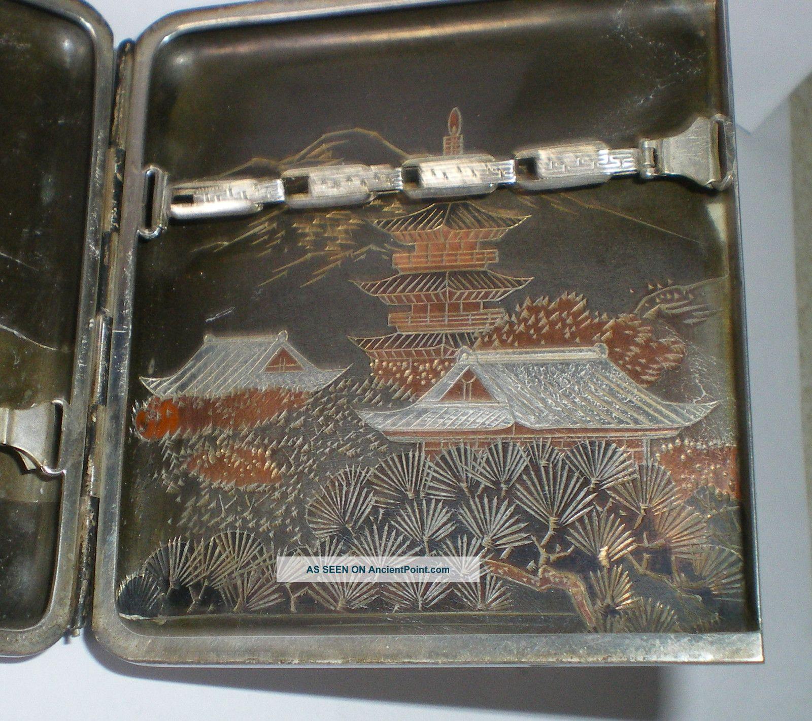 Vintage Solid Silver Japanese Cigarette Case Inlay Silver Bronze Not Scrap 158g Cigarette & Vesta Cases photo