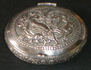Vintage Solid Silver Indian Snuff Or Tobacco Box Betel Nut Kutch Nr photo