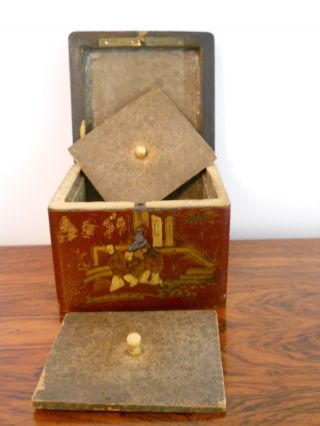 Small Cubed Lacquered Chinese Tea Caddy photo