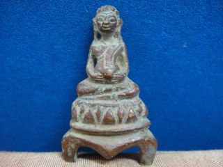 Old Laos Buddha Statue Bronze photo