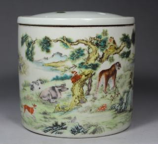 Chinese Old Porcelain Handwork Painting Animals Pot photo