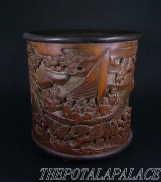 Big Old Chinese Bamboo Root Carved Brush Pot~pine/bamboo/many Figures photo