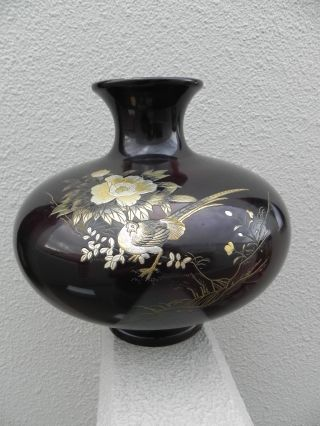 Large Heavy Signed Japanese Mixed Metal Highly Engraved Bronze Vase Bird Flowers photo