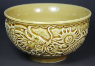 Chinese Porcelain Handwork Dragon Phoenix Bowl photo