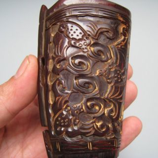 Old Antique 18 - 19th Chinese Ox Horn Carved Chilong Dragon Jiao Cup Nr/pc1473 photo