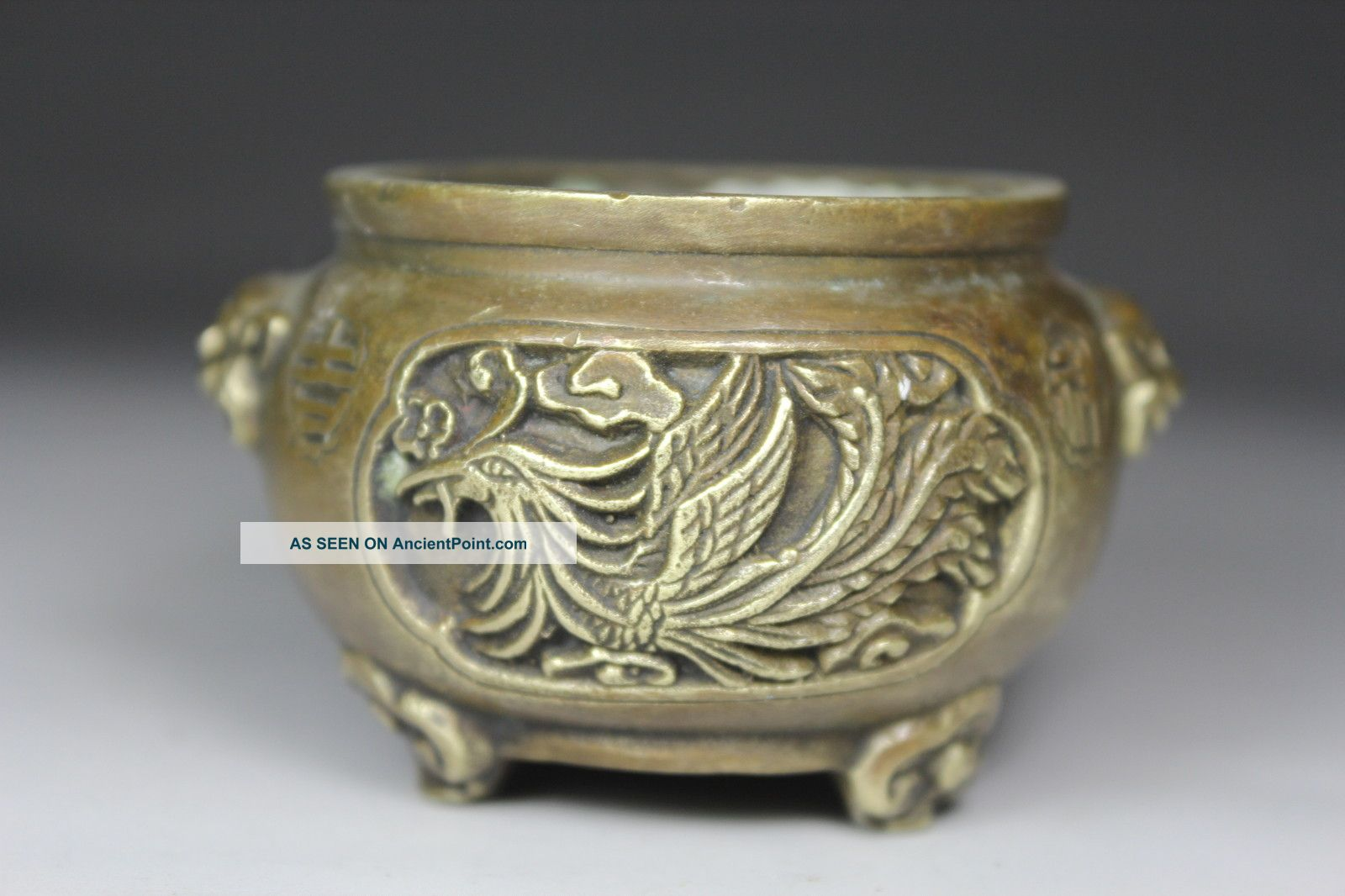 Chinese Handwork Copper Phoenix Dragon Old Incense Burner Buddha photo