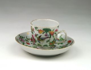 Fine Antique 19thc Chinese Qing Famille Rose Canton Porcelain Cup & Saucer photo