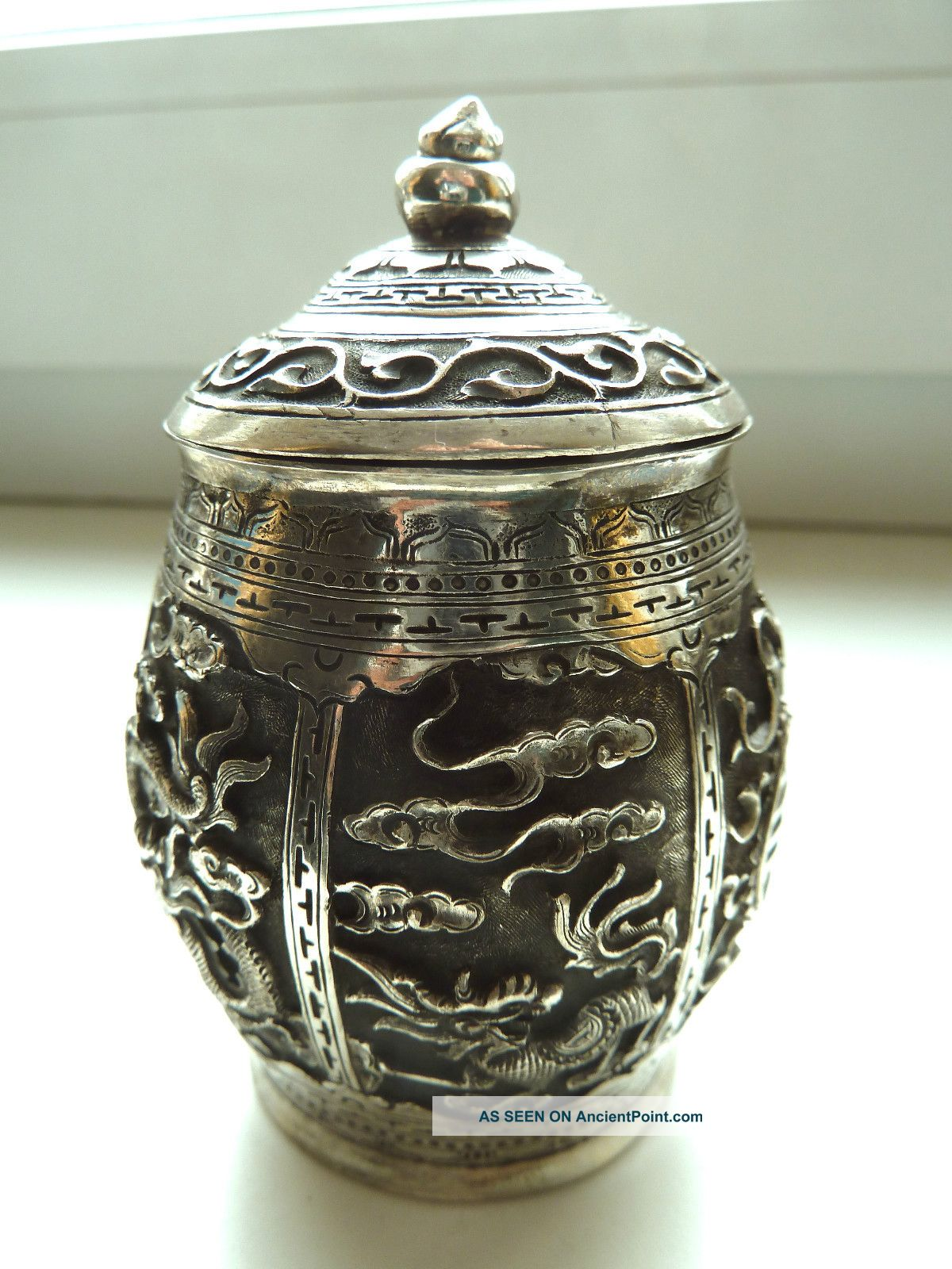 Chinese Export Solid Silver Box 150 Relief Asia photo