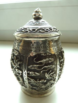 Chinese Export Solid Silver Box 150 Relief photo