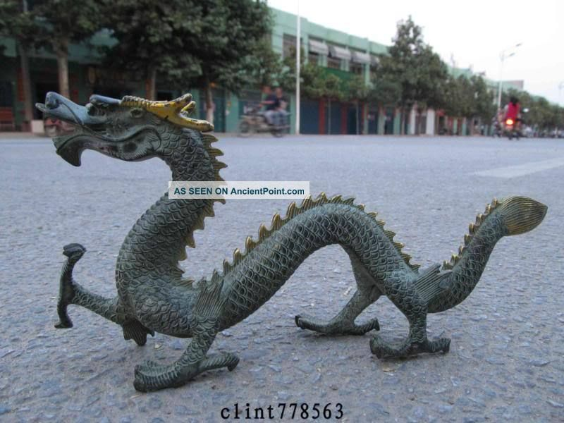 China Art Bronze Gilt Carved Fly Dragon Statue Reproductions photo