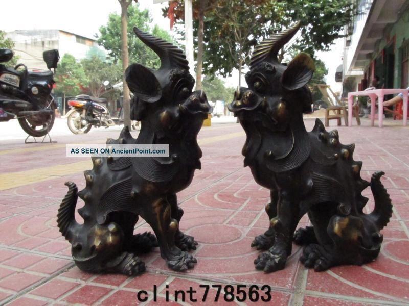 China Palace Guardian Evil Door Brass Foo Dog Lion Beast Unicorn Pair38 Reproductions photo