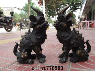 China Palace Guardian Evil Door Brass Foo Dog Lion Beast Unicorn Pair38 photo