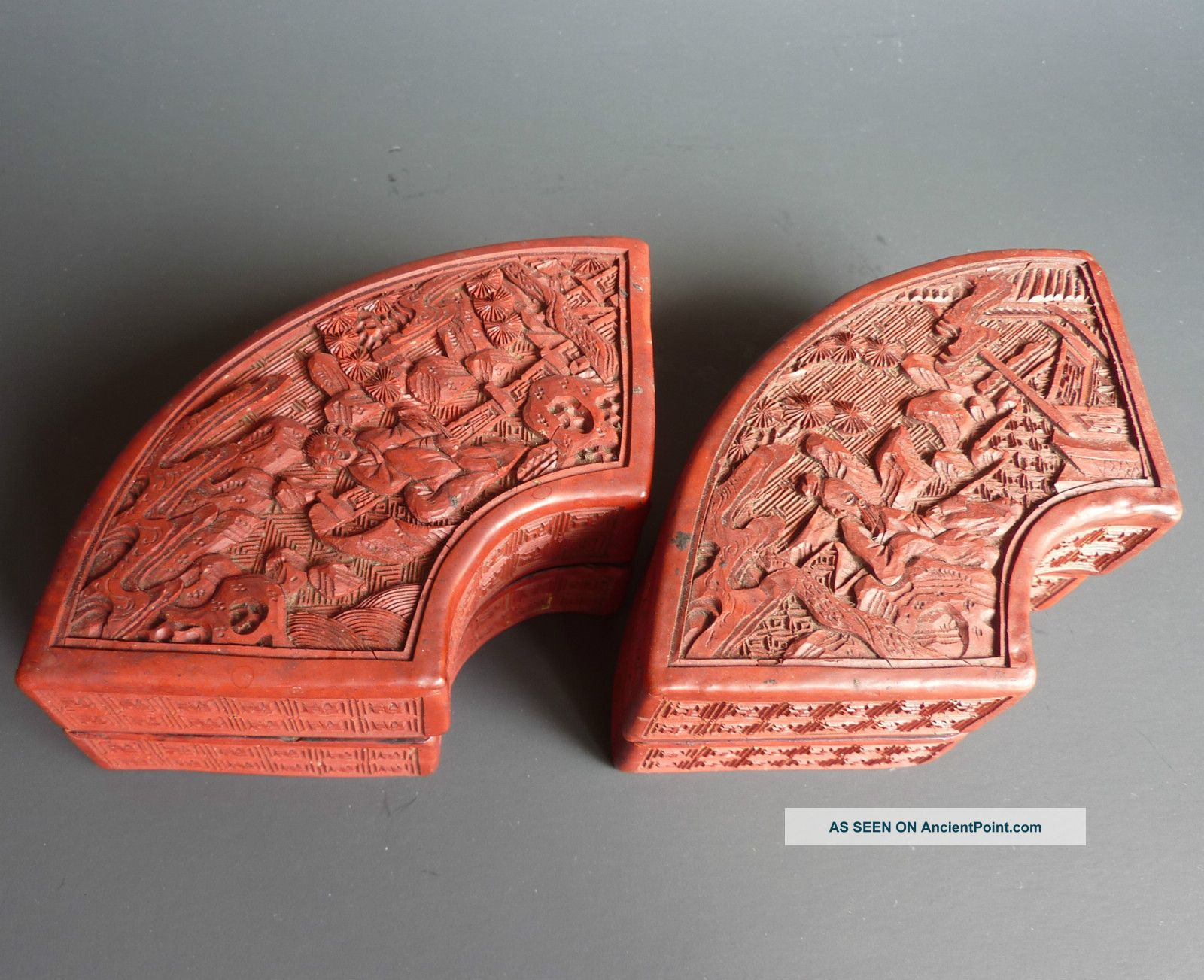 A Pair Of Old Chinese Cinnabar Scholar Boxes Fan Shaped Boxes photo