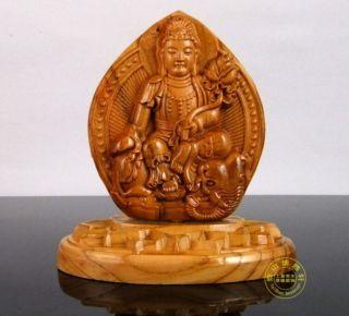 Chinese Peach Wood Carved Buddha Kwan - Yin Dragon Statue Sculpture Amulet Netsuke photo
