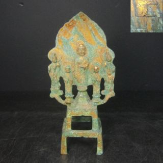 F282: Chinese Or Tibetan Copper Ware Buddhist Statue With Good Atmosphere photo