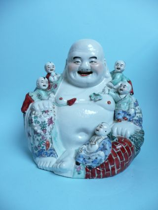 Antique Chinese Buddha With 5 Children A/f. . . . . . . . . . . . . . . . . . . . . . . . . . . . . .  Ref.  3519 photo