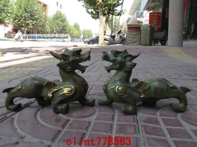 China Old Bronze Evil Beast Fu Foo Dog Lion Pair 2 Reproductions photo