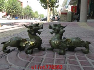 China Old Bronze Evil Beast Fu Foo Dog Lion Pair 2 photo