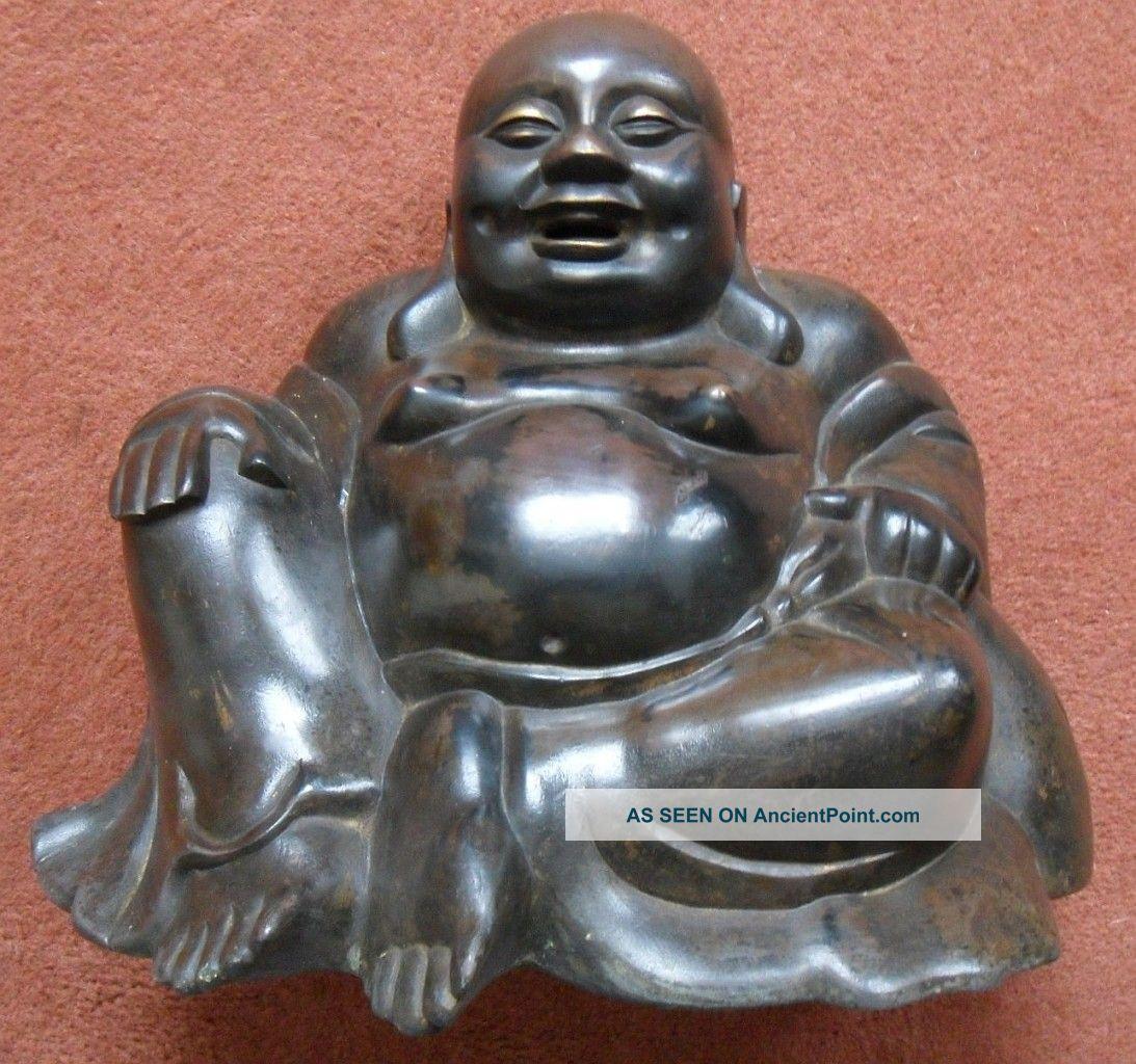 Ming / Qing Dynasty Chinese Bronze Smiling Fat Laughing Happy Buddha Budai Buddha photo