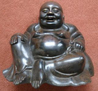 Ming / Qing Dynasty Chinese Bronze Smiling Fat Laughing Happy Buddha Budai photo