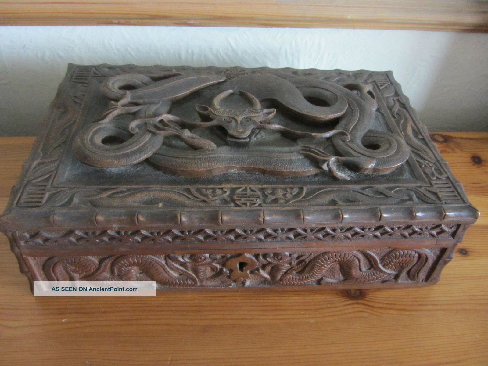 Antique 19th Century Chinese Wooden Box Beautifully Carved Dragon Lock & Key Boxes photo