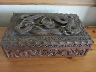 Antique 19th Century Chinese Wooden Box Beautifully Carved Dragon Lock & Key photo
