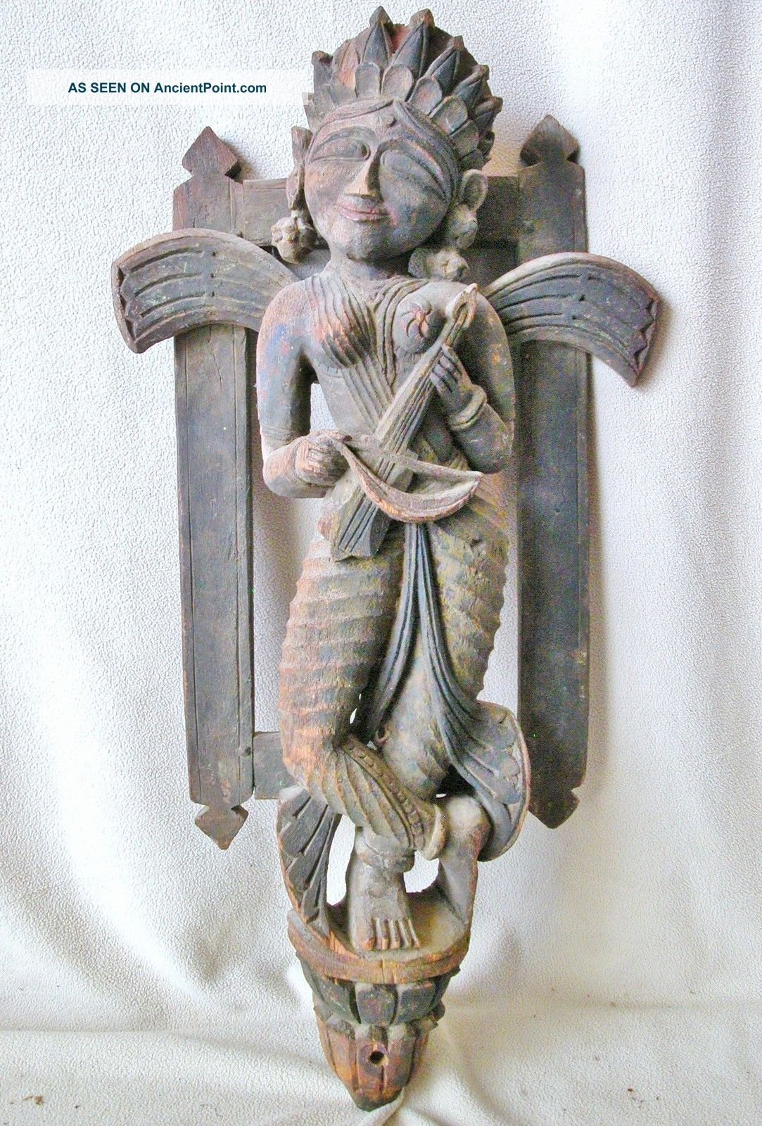 25 Antique Chinese Or South Asian Hand Carved Painted Wood Angel
