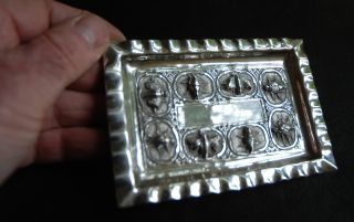 Gorgeous,  Quality,  Antique Indian Silver Pin Tray,  Decorated Insects (747) photo