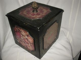 Heavy Tin Vintage Box With Chinese Patterns Inlaid. photo