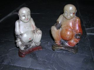 Pair Of Antique Chinese Jade Budha ' S / Figurines photo