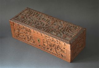 Splendid Cantonese Chinese 19th Century Carved Sandalwood Box photo