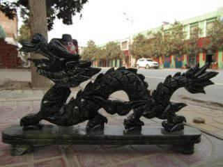 Chinese Exquisite Green Jade Carved Fly Dragon Statue photo