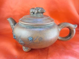 Chinese Antique Rare Yixing Teapot Cute Animal Rabbit Cover Plum Folwer Protrude photo