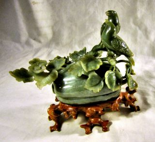 Stunning Early C20th Chinese Jade Carving - Song Birds On A Melon photo