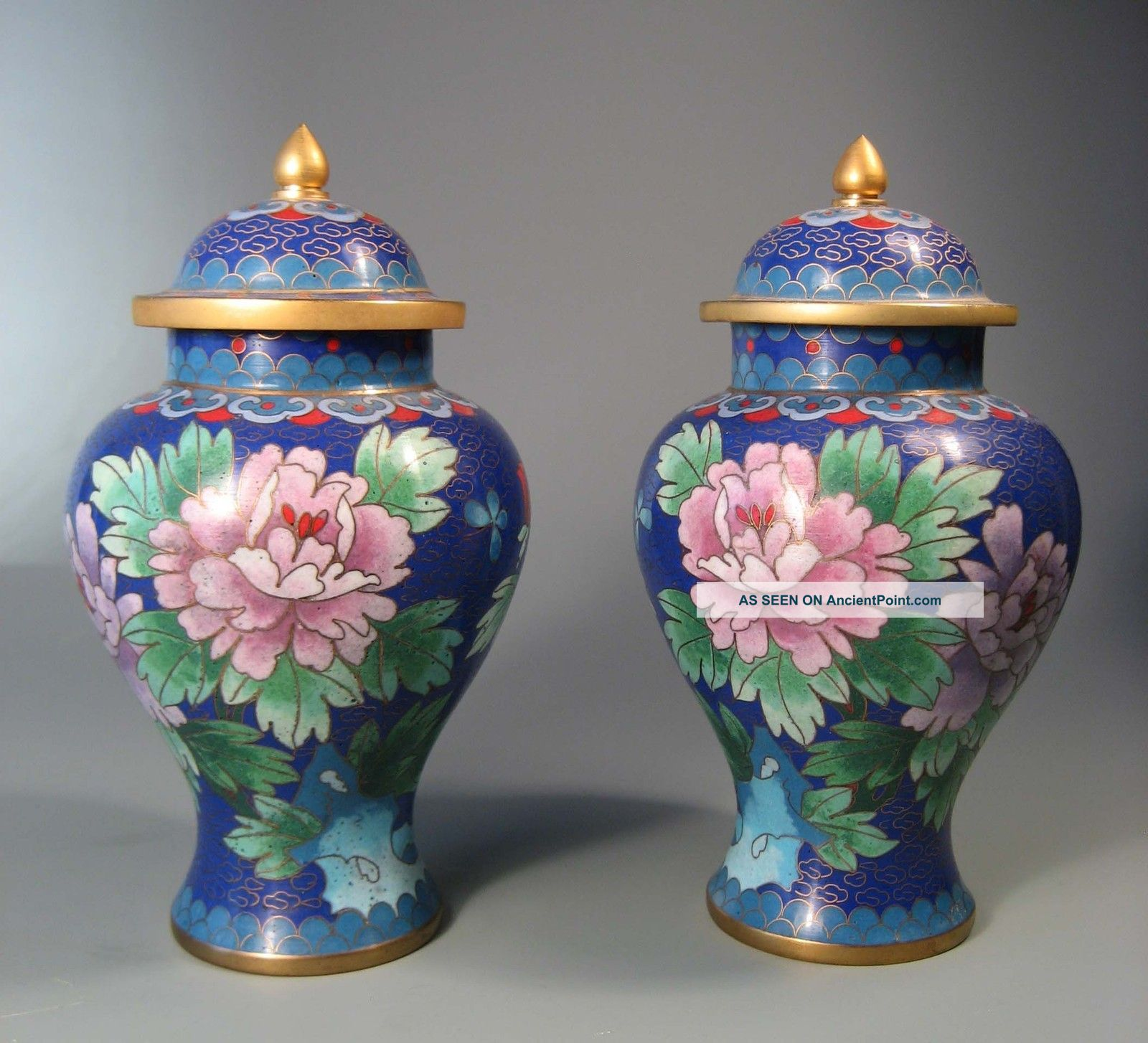 Fine Old Pair China Chinese Cloisonne Vases Chrysanthenum Floral Decor 20th C. Boxes photo