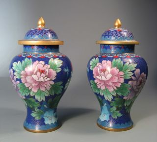 Fine Old Pair China Chinese Cloisonne Vases Chrysanthenum Floral Decor 20th C. photo