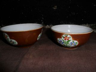Pair Of 18th Century Chinese Porcelain Cafe Au Lait Wine Bowls photo
